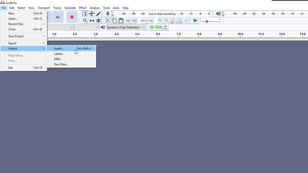 Step 2: Launch Audacity and Import Audio File