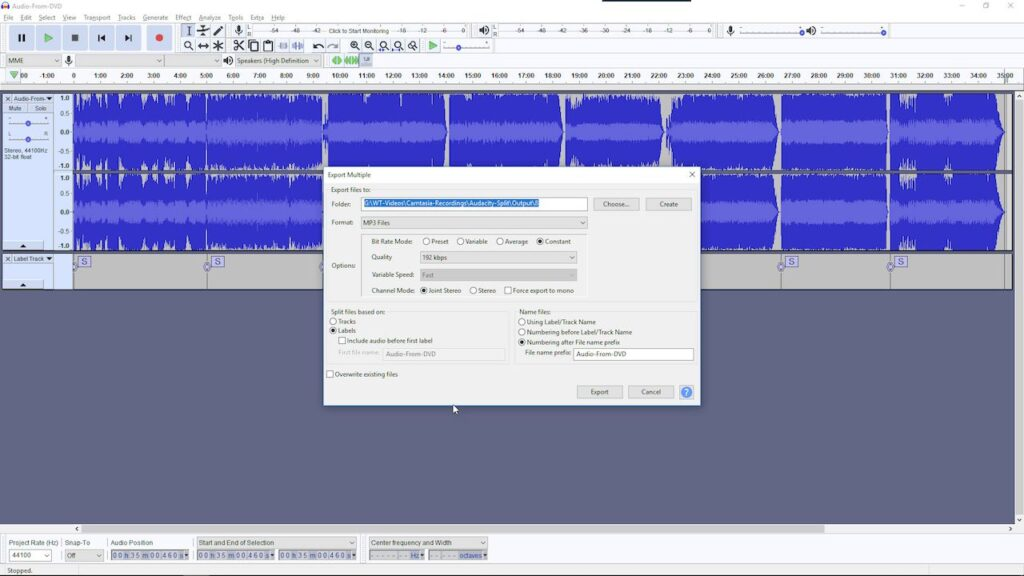 Step 4: Export your Audio Files